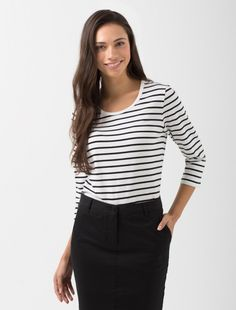 If you've been on the hunt for the ideal striped shirt, look no further than the Women's Riviera Sleeve Striped T-Shirt in Vanilla & Black Preppy Casual, Casual Outfits, Workwear Fashion, Work Tops, Women's Fashion Dresses, Street Style Women, Vanilla, Sleeves, How To Wear