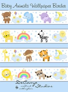 Baby Jungle, Zoo, and Woodland Animals Wallpaper Border Wall Decals with playful stars, moon, clouds, and rainbow for baby girl or boy nursery and children's room decor #decampstudios