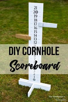 Learn how to make this cornhole scoreboard out of a single board! Get the free woodworking plans for this DIY cornhole scoreboard and get building! Customize your homemade cornhole scoreboard with your team colors, and add drink holders to the back! Small Woodworking Projects, Woodworking Workbench, Woodworking Workshop, Diy Wood Projects, Woodworking Crafts, Woodworking Shop, Woodworking Furniture, Popular Woodworking, Woodworking Patterns