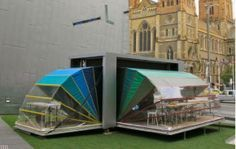 Nebula Portable Arts Space. Folded, it is a transportable container. With an adjustable awning, it is a space for pop-up theatre, dining or display! popuprepublic.com