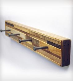 4-Hook Reclaimed Wood Coat Rack - Horizontal Planking by Six Finger Studios on Scoutmob Shoppe. Rustic coat rack or key holder made with contrasting wood tones.