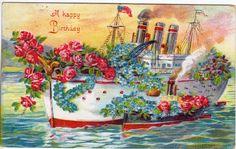 vintage cards | VINTAGE BIRTHDAY CARD - SHIP 1909