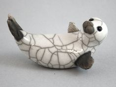 Seal Pup on Back ceramic pottery handmade raku by 247gallery, $30.00