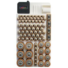 rack that organizes and stores your batteries with charge reader
