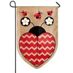 Love Ladybug Burlap Garden Flag