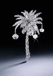 THE CARTIER PALM TREE DIAMOND CLIP BROOCH