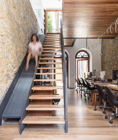 Staircase and slide Wood Interior Design, Home Interior, Interior Architecture, Loft House, House Stairs, Stair Slide, Warehouse Design, Steel Stairs, Staircase Makeover