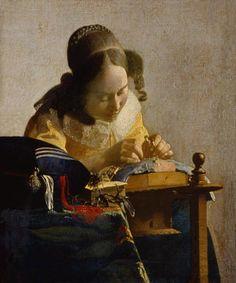 Johannes Vermeer (Dutch [Baroque, Dutch Golden Age] The Lacemaker, circa Louvre. Johannes Vermeer, Rembrandt, Vermeer Paintings, Oil Paintings, Painting Art, Städel Museum, Louvre Paris, Dutch Golden Age, Art History