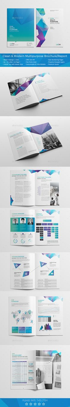 Clean & Modern Multipurpose Brochure / Report Template Buy Now: graphicr. Leaflet Layout, Brochure Layout, Brochure Design, Brochure Template, Indesign Templates, Report Template, Catalogue Design, Book Design, Layout Design
