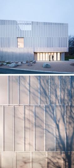 Perforated metal facade by Architecture 00. Designed to eventually become a framework for climbing plants.