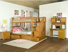 Atlantic Furniture Columbia Staircase Bunk Bed Twin Over Twin with Raised Panel Trundle Bed in Caramel Latte Bunk Beds Boys, White Bunk Beds, Cool Bunk Beds, Kid Beds, Staircase Bunk Bed, Bunk Beds With Stairs, Wood Staircase, Kids Bed Furniture, Unique Furniture