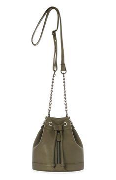 Olive PU Mini Zip Duffle Bag