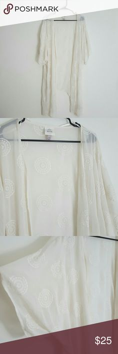 Off White Sheer Kimono The is an off-white sheer Kimono with embroidered circle patterns.  Never worn. Took the tags off an hung it in my closet.   Size l/xl Knox rose Tops
