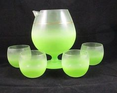 5 Piece Frosted Green Blendo Martini Cocktail Pitcher w/ Roly Poly Glasses WV