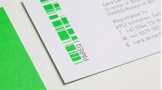 Logo and identity design for Pareq, a medical company in Switzerland who uses biomarkers to develop new drugs. By Aerogram Studio. Neon green logo and business cards.