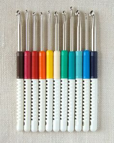 Addi Color Coded Crochet Hooks from Skacel: These crochet hooks are coated with the same finish as Skacel's Addi Turbo knitting needles for turbo speed crocheting!  The sizes are color coded so they're easy to identify.    $