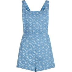 Parisian Light Blue Floral Pinafore Playsuit (166.175 IDR) ❤ liked on Polyvore featuring jumpsuits, rompers, dresses, playsuits, dungarees, jumpsuit, pale blue, summer jumpsuits, light blue jumpsuit and blue jumpsuit
