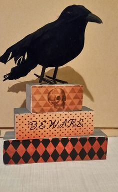 Halloween wooden blocks set of 3 with by BrumbleBerryBoutique