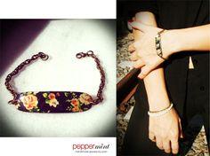 ID bracelet Black with winter flowers #flowers_bracelet https://www.facebook.com/peppermint.jewels