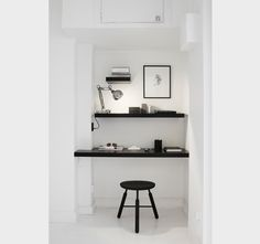 black and white home office, nook, shelves Workspace Inspiration, Interior Inspiration, Style Inspiration, Interior Ideas, Home Office Design, House Design, Office Designs, Office Style, Small Office Decor