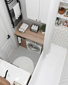 34 Awesome Small Bathroom Design Ideas For Apartment - It seems that one of the bathroom design trends is to make the bathroom larger. A spacious bathroom shows your preference for a comfortable lifestyle. Laundry Room Design, Bathroom Design Small, Home Room Design, Bathroom Interior Design, House Design, Laundry Rooms, Bathroom Laundry, Bathroom Cabinets, Laundry Closet