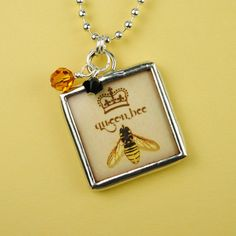 Hey, I found this really awesome Etsy listing at https://www.etsy.com/listing/76351343/queen-bee-necklace-bee-pendant-soldered