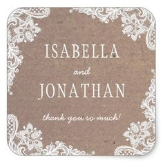 Rustic Kraft & Lace | Country Thank You Square Sticker - lace gifts style diy unique special ideas