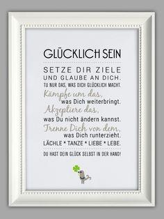 """Originaldruck - """"GLÜCKLICH SEIN"""" Kunstdruck - ein Designerstück von Smart-Art-Kunstdrucke bei DaWanda"""