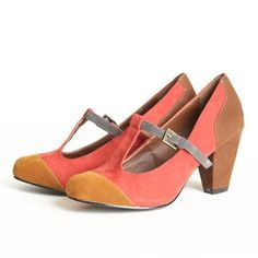 T-Strap Shoes in Coral, Brown and Coffee --- love the color blocking! #SnowShoesWomens #TrailShoesWomen