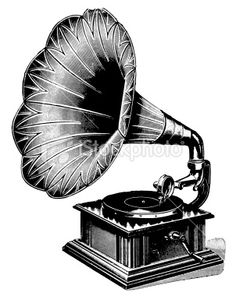 Gramophone | Antique Musical Illustrations Royalty Free Stock Photo