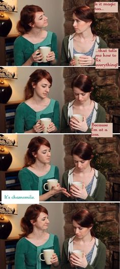 Lizzie Bennet Diaries - is it magic tea?  I love this episode... made me sob like crazy...