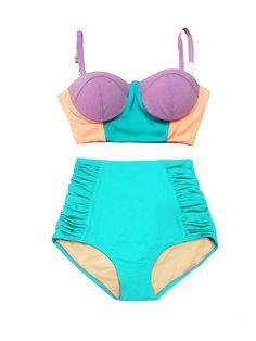 Retro High Waisted Bikini, High Rise Bikini, Bikini Retro, Pin Up Swimsuit, Swimsuit Pattern, Bikini Swimwear, Swimsuits, Bikinis, Midkini Tops