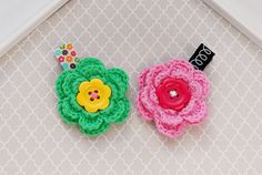 2 Kid Girl NO SLIP Hair Clips, Baby Crochet Flower Hair Barrettes,Toddler Girl Hairclip, Colorful Hair Accessory, Pink and Green Hairclips by SpunkyBunny