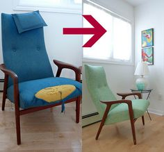 Forgot how sad our vintage teak chair was before the turquoise & mint green upholstery