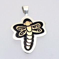 Dragonfly gold and silver Overlay Pendant, Watson Honanie (Hopi)