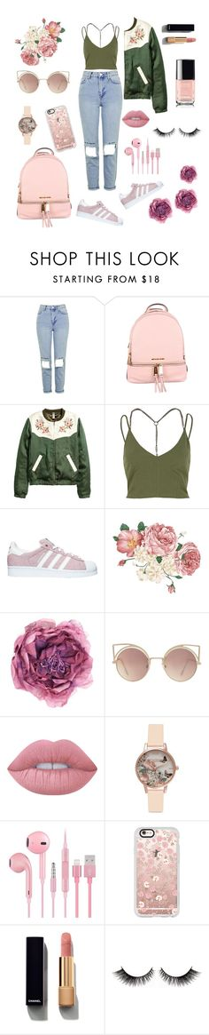 """back to school ideas - flowers -khaki&pink - naked"" by teri-green ❤ liked on Polyvore featuring Topshop, MICHAEL Michael Kors, River Island, adidas, Gucci, MANGO, Lime Crime, Olivia Burton, Casetify and Chanel"