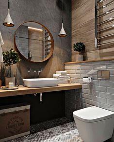 Modern Farmhouse Bathroom, Modern Bathroom Design, Bathroom Interior Design, Modern Interior Design, Modern Interiors, Bathroom Designs, Minimal Bathroom, Diy Bathroom Decor, Bathroom Styling