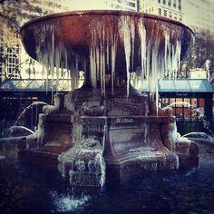 winter, central park, fountain.
