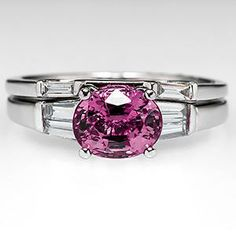 Oval Pink Sapphire Engagement Ring Wedding Set Platinum