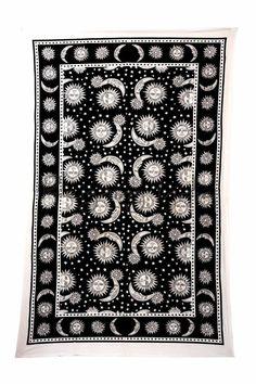 Black & white Sun Moon Tapestry Dorm Astrology Hippie Bedding Wall Hanging 5482 #Handmade