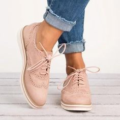 Women's Lace Up Perforated Oxfords Shoes Plus Size Casual Shoes Damen Schnürschuhe Perforated Cute Shoes, Women's Shoes, Shoe Boots, Flat Shoes, Golf Shoes, Ankle Shoes, Cute Casual Shoes, Shoes 2017, Shoes Style