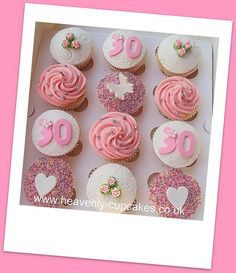 Pretty & Pink 30th Birthday Cupcakes.