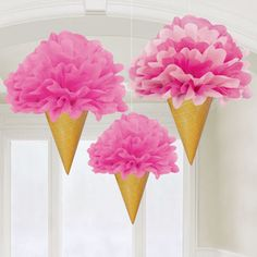 6.99 GBP - 3 X Deluxe Pretty Pink Ice Cream Cone Fluffy Hanging Party Decorations 30Cm #ebay #Home & Garden