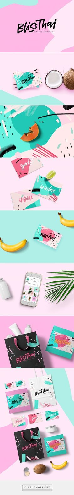Bliss Thai Online Shop Branding by Daria Kwon / Branding / Brand / Design / Colorful / Food / Thai / Fruit / Organic / Natural / Nature / Tropical / 80's Aesthetic / 80's Pattern / Fun / Ludic