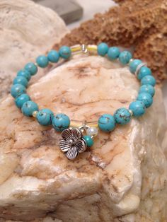Turquoise shell bead bracelet by WaterSpirits Jewelry