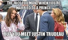 Tongue-in-cheek: Some of the memes starred a beaming Duchess of Cambridge as she and Prince William were introduced to Mr Trudeau and his wife during the royal visit to Canada