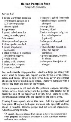 Haitian Freedom = Haitian Pumpkin Soup (recipe included) | Culture and Art…