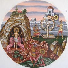 Adamantia Karatza .Miniature  icon of Mardyrdom of Saint Panteleimon.
