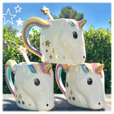 """As if coffee or hot chocolate weren't magical enough, now you can take it to the next level with this ceramic """"Be A Unicorn"""" mug with star wand spoon. You can even eat your ice cream out of it! - 12 o"""