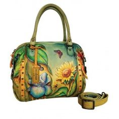 Anuschka Zip Top Satchel FDS, Floral Dreams, One Size for sale Leather Satchel, Leather Purses, Leather Bags, Painted Bags, Hand Painted, Unique Purses, Painting Leather, Satchel Handbags, Satchel Bag